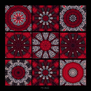 Kaleidoscopic Posters - The Red Door Tiles Poster by Mary Machare