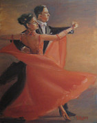 Ballroom Paintings - The Red Dress by Dana Lombardo