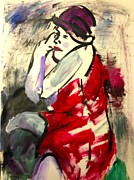 Bare Shoulder Drawings Prints - The Red Dress II Print by Elaine Schloss