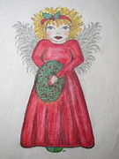 Religious Prints Drawings - The Red Dress by Jan Muse