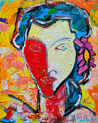 Edulescu Paintings - The Red Half Expressionist Girl Portrait  by Ana Maria Edulescu