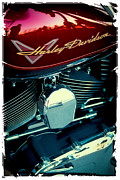 Classic Cycle Posters - The Red Harley Poster by David Patterson