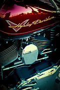 Classic Cycle Prints - The Red Harley II Print by David Patterson