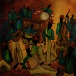 African-american Paintings - The Red Hat Octet and Friends by Larry Martin