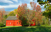 Manchester Vermont Prints - The Red Homestead Print by Jim  Calarese