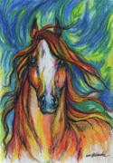 Horse Drawings - The Red Horse by Angel  Tarantella