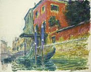 Canals Painting Prints - The Red House Print by Claude Monet