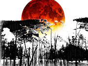 Landscape Prints Mixed Media Framed Prints - The Red Moon - Landscape Art By Sharon Cummings Framed Print by Sharon Cummings