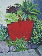 Terra Paintings - The Red Pot by Suzanne Theis