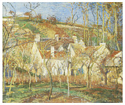 Country In Winter Prints - The Red Roofs Corner of a village Winter Print by Camille Pissarro
