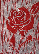 Linoleum Block Print Reliefs Posters - The Red Rose Poster by Marita McVeigh