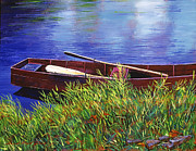 Oars Paintings - The Red Rowboat by  David Lloyd Glover