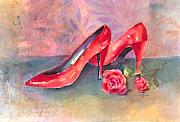 Shoe Paintings - The Red Shoes by Arline Wagner