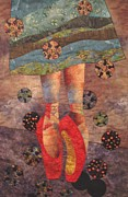 Fabric Collage Tapestries Textiles Posters - The Red Shoes Poster by Lynda K Boardman