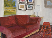 Interior Still Life Paintings - The Red Sofa by William Van Doren