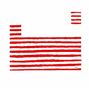 Abstract American Flag Paintings - The Red Strip by Brian Buckley