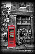 Brick Street Framed Prints - The Red Telephone Box - Time for Tea II Framed Print by Lee Dos Santos