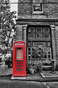 Brick Street Framed Prints - The Red Telephone Box - Time for Tea Framed Print by Lee Dos Santos