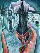 Tram Painting Framed Prints - The Red Tower in Halle Framed Print by Ernst Ludwig Kirchner
