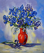 Flower Still Life Prints Posters - The Red Vase Poster by Jan Law