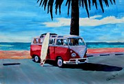Surfer Art Originals - The Red Volkswagen Surf Bus by M Bleichner