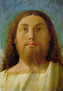 Christ Face Posters - The Redeemer Poster by Giovanni Bellini