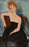 Evening Dress Painting Metal Prints - The redheaded girl in evening dress Metal Print by Amedeo Modigliani