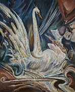Swan Fantasy Art Framed Prints - The Regal Bird Framed Print by Stefano Popovski