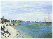Sailboat Ocean Paintings - The Regatta at Sainte-Adresse by Claude Monet