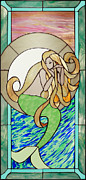 Ocean  Glass Art Originals - The Reluctant Siren by Jeanne and David Gomm