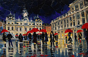 Mona Edulescu Framed Prints - The Rendezvous Of Terreaux Square In Lyon Framed Print by EMONA Art