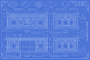 Desk Digital Art Prints - The Resolute Desk Blueprints / Aged Blue Print by Kenneth Perez