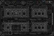 The Resolute Desk Blueprints- Black/white Line Print by Kenneth Perez