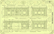 Technical Art Drawings Prints - The Resolute Desk Blueprints - Soft Yellow Print by Kenneth Perez