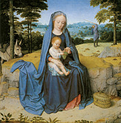Virgin Mary Paintings - The Rest on the flight Into Eqypt by Gerard David