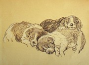 Dogs Drawings - The Rest by Vasile Ion