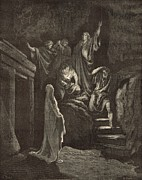 Christianity Drawings - The Resurrection of Lazarus by Antique Engravings