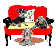 Mixed Media Of Dogs Posters - The Retro Chair Buds Poster by Brian Buckley