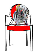 Mixed Media Art Paintings - The Retro Chair Bulldog by Brian Buckley