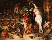 Rubens Metal Prints - The Return from War - Mars Disarmed by Venus Metal Print by Pg Reproductions