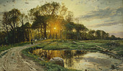 Setting Framed Prints - The Return Home Framed Print by Peder Monsted