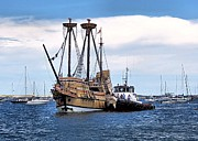 Plymouth Harbor Prints - The Return of Mayflower II Print by Janice Drew