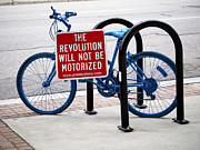 Blue Art Photo Prints - The Revolution Will Not Be Motorized Print by Rona Black