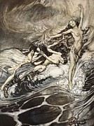 Extinct And Mythical Drawings Prints - The Rhinemaidens obtain possession of the ring and bear it off in triumph Print by Arthur Rackham