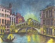 Time Pastels Posters - The Rialto Bridge An Evening in Venice  Poster by Carol Wisniewski