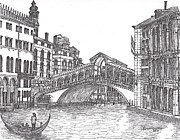 Waterscape Drawings Posters - The Rialto Bridge bw Poster by Carol Wisniewski
