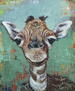 Giraffe Paintings - The Riddler by Mary Medrano