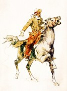 Old West Drawings Prints - The Rider Print by Pg Reproductions