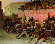 Horse Racing Painting Prints - The Riderless Racers at Rome Print by Theodore Gericault
