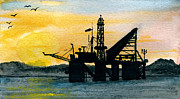 Sea Platform Framed Prints - The Rig Framed Print by R Kyllo